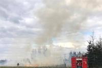 Pożar traw zagrażał kierowcom