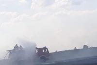 Pożar ścierniska w Oborze