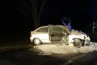 Wypadek w Oborze! Auto stanęło w ogniu