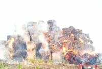 Pożar stogu w Mielżynie