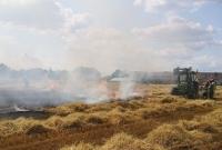 Pożar zboża we wsi Osiniec