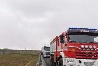 Pożar ciężarówki w okolicy węzła Gniezno Południe