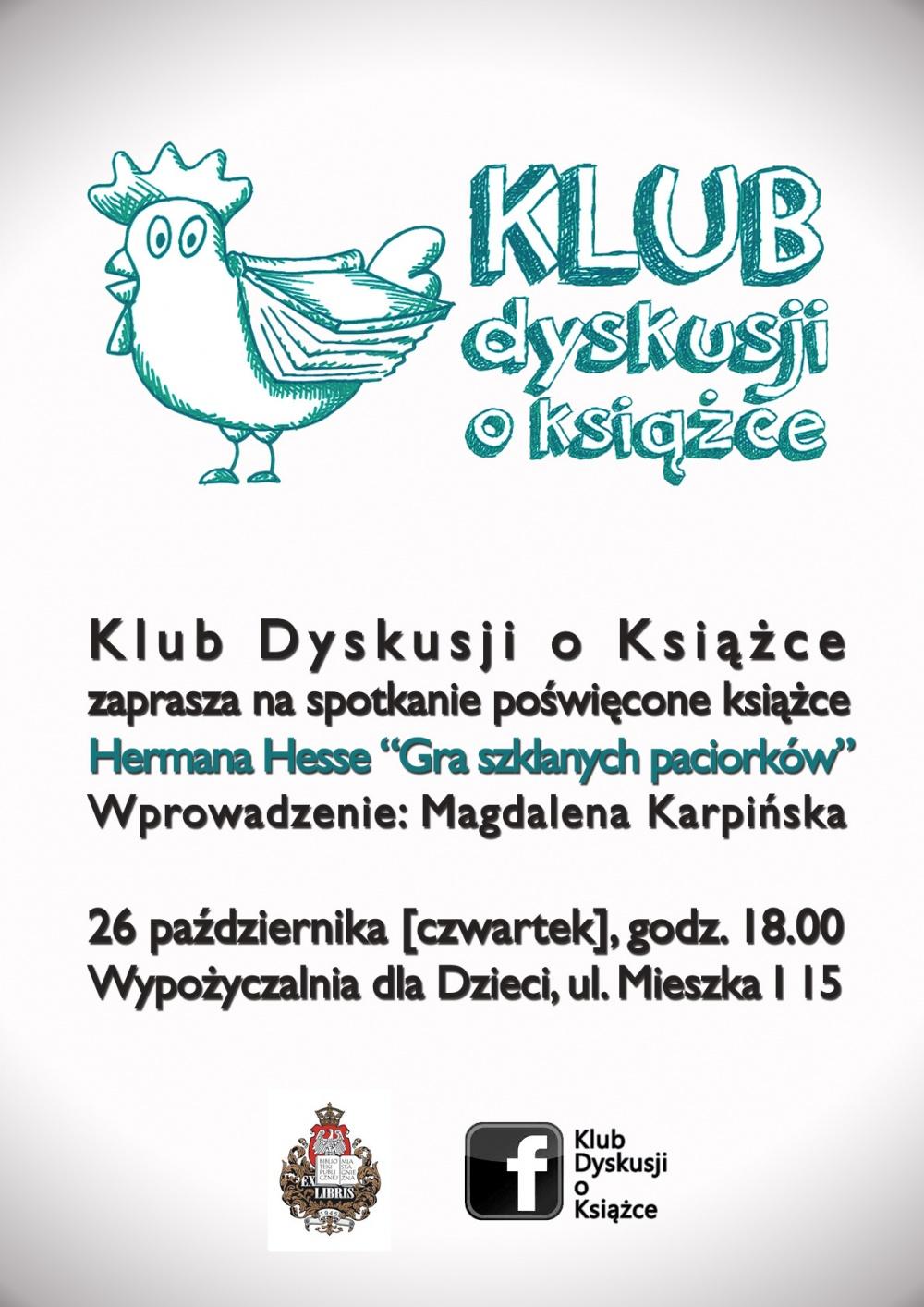 Klub Dyskusji o Książce zaprasza na spotkanie z twórczością Hermana Hessa