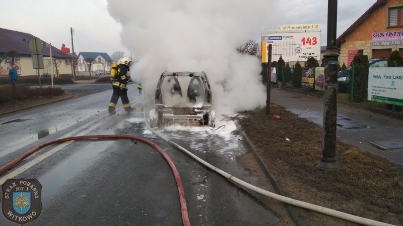 Pożar auta w Witkowie