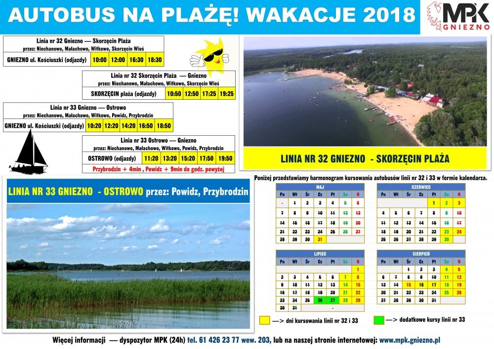 Autobusem MPK na plaże w Skorzęcinie, Powidzu i Przybrodzinie!