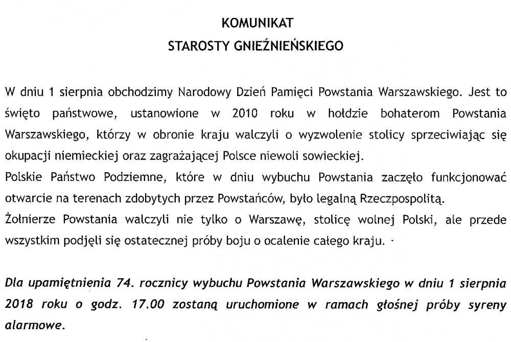 Syreny alarmowe uczczą pamięć powstańców warszawskich