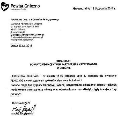 Komunikat PCZK: 14 i 15 listopada zawyją syreny alarmowe