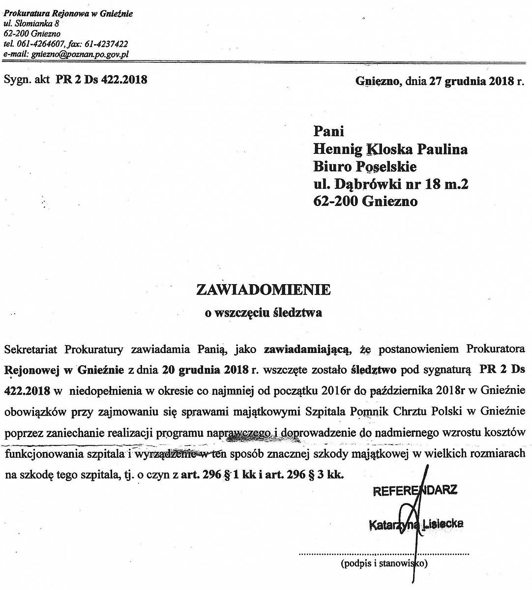 Prokuratura wszczęła postępowanie w sprawie gnieźnieńskiego szpitala