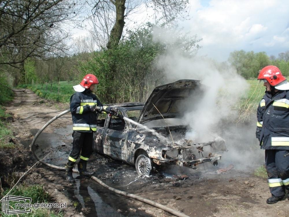 Pożar samochodu w Jankowie Dolnym