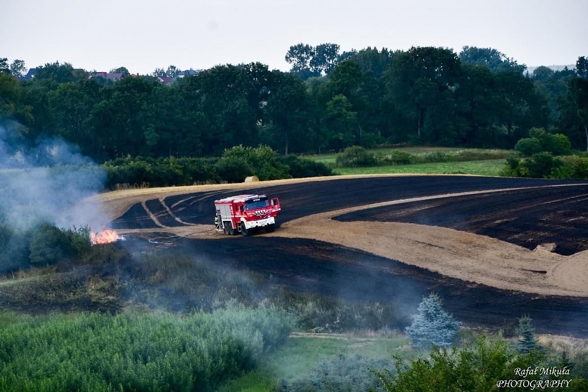 Pożar ścierniska w miejscowości Wełnica
