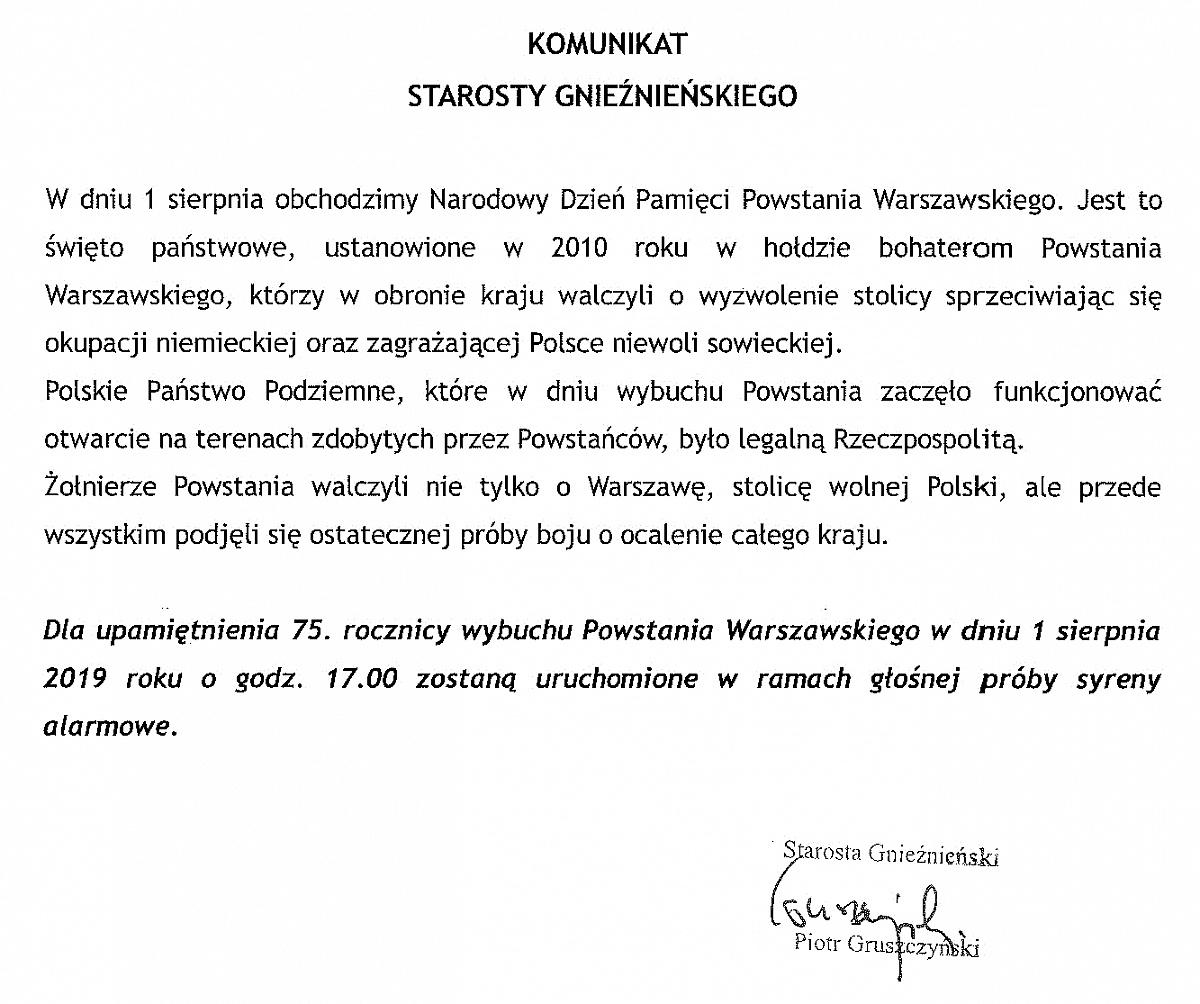 Jutro 75. rocznica wybuchu Powstania Warszawskiego