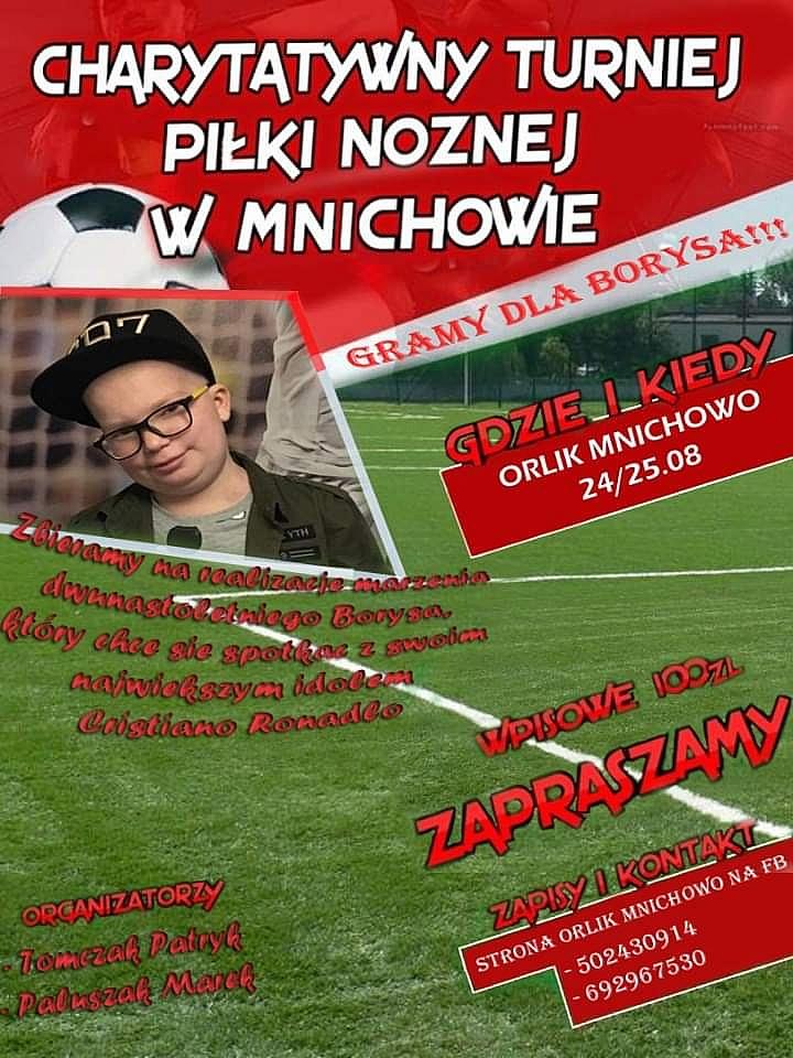 Turniej piłkarski o spełnienie marzenia Borysa już w ten weekend w Mnichowie