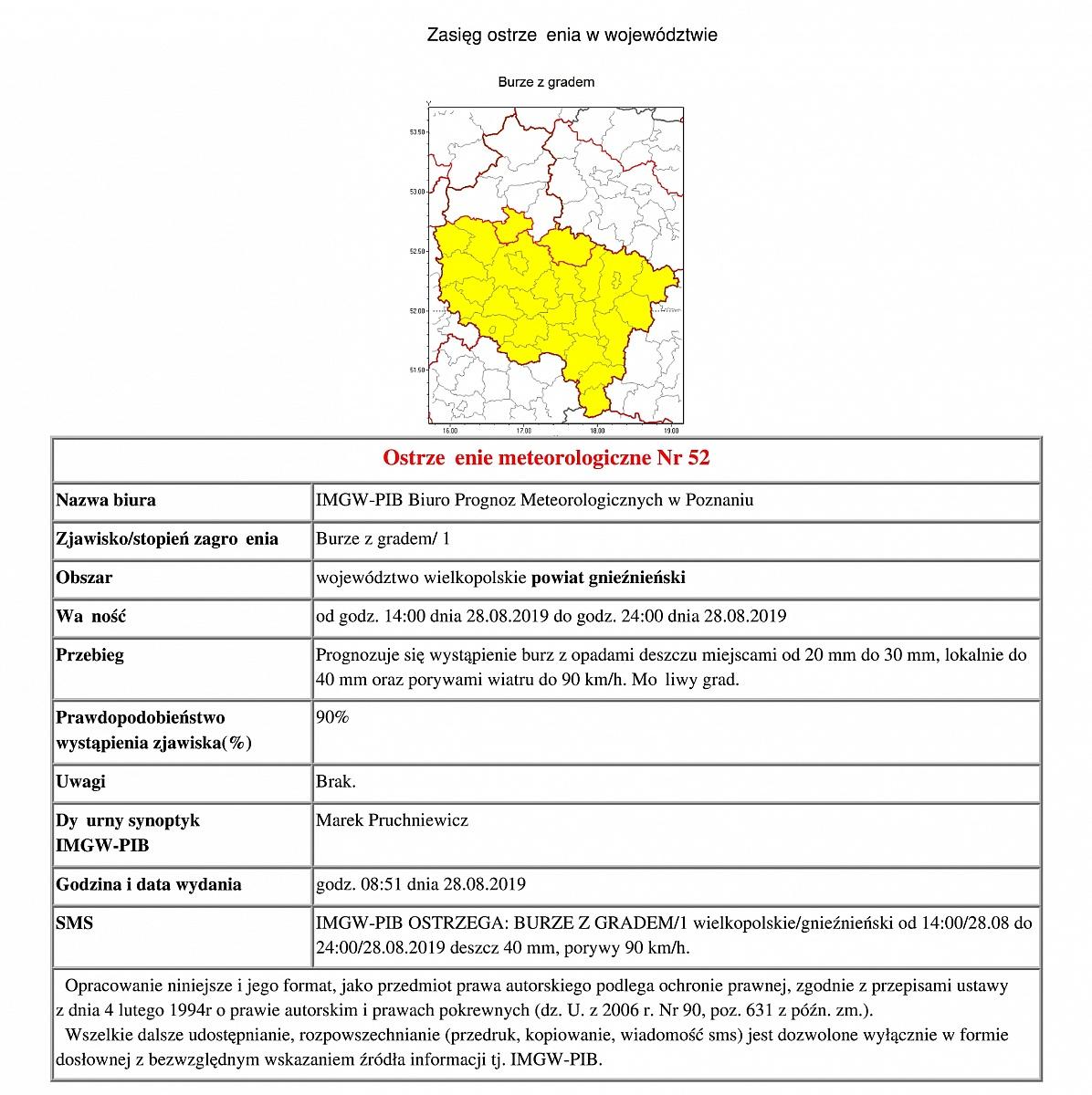 Ostrzeżenie meteorologiczne: burze
