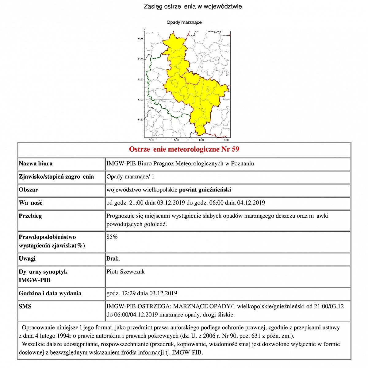 Ostrzeżenie meteorologiczne: marznące opady