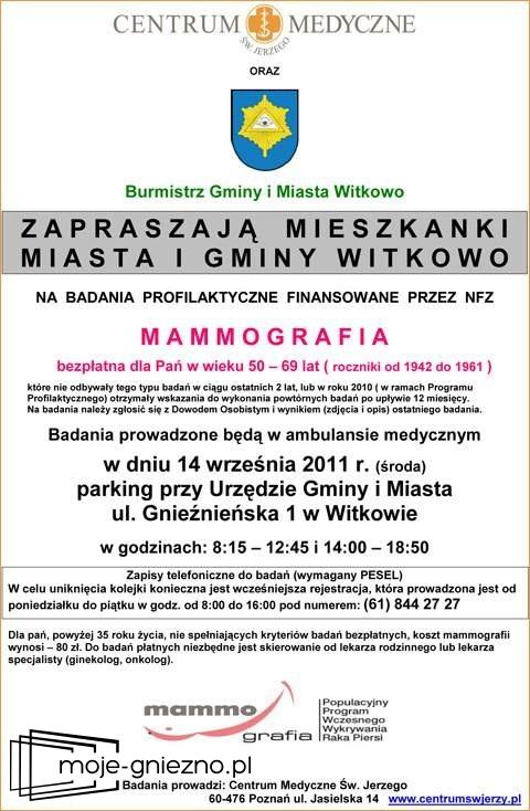 Bezpłatne badania mammograficzne w Witkowie