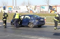 Wypadek na skrzyżowaniu w Rudkach