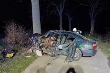 Wypadek w Mierzewie! Auto z ogromną siłą uderzyło w drzewo!
