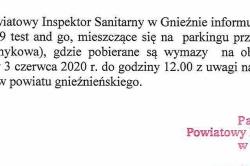 Mobilne centrum pobrań prób COVID-19 tylko do 3 czerwca w Gnieźnie!