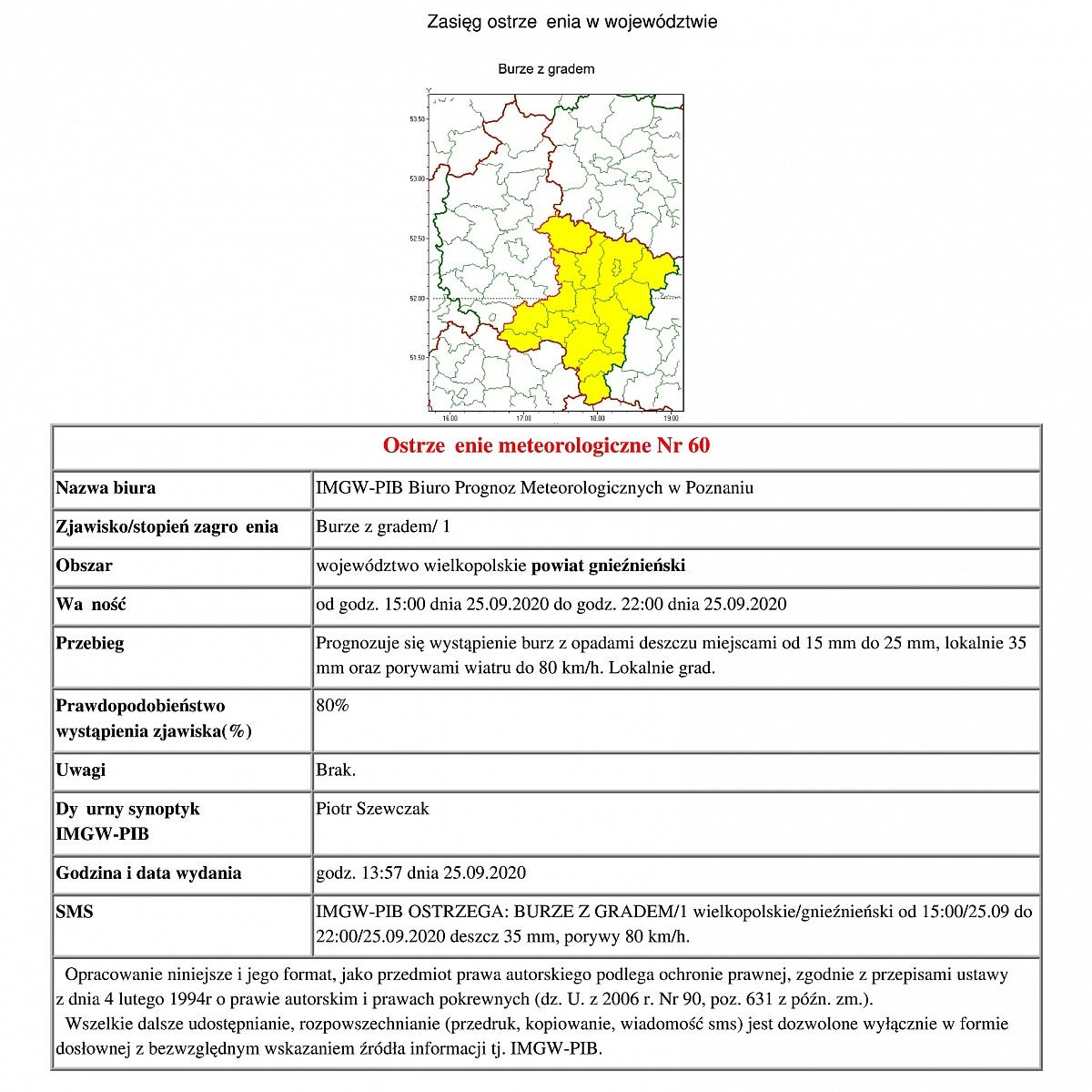 Ostrzeżenie meteorologiczne: burze z gradem