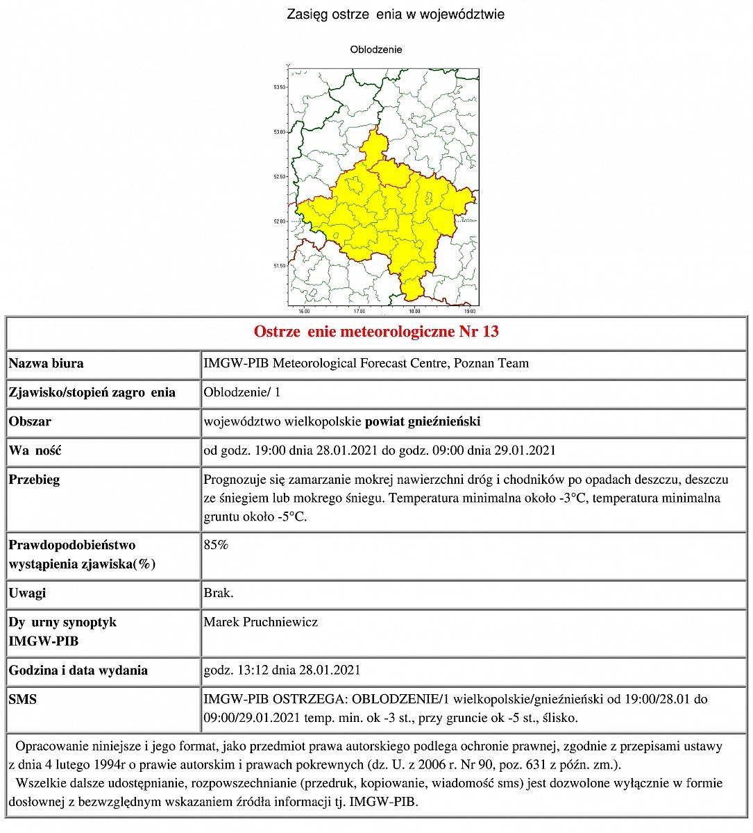 Ostrzeżenie meteorologiczne: oblodzenie