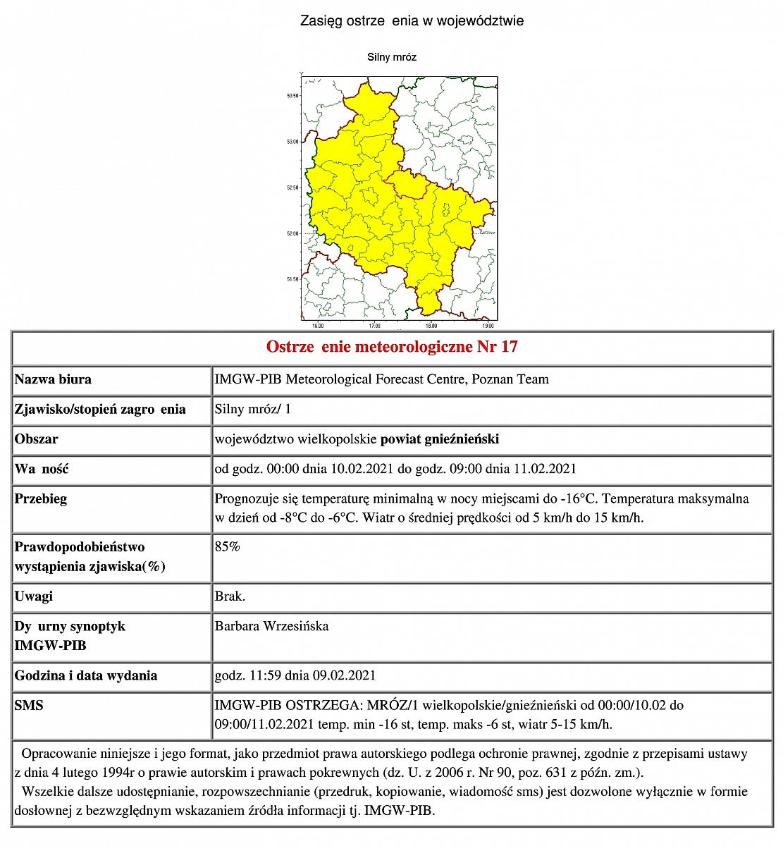 Ostrzeżenie meteorologiczne: silny mróz