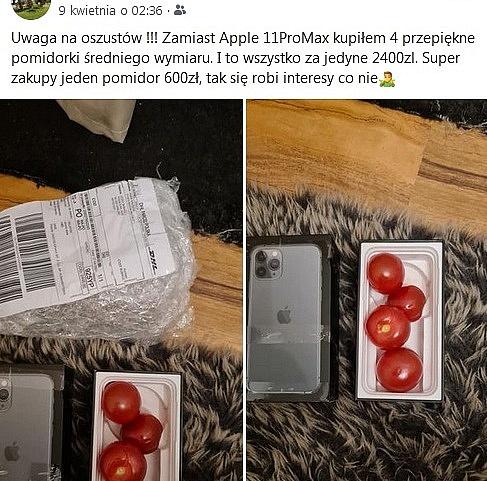 Kupił iPhone'a za 2 400 zł! W pudełku przyszły pomidory