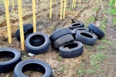 Dzikie wysypisko opon i innych odpadów przy ul. Poznańskiej i Warzywnej