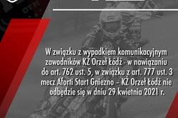 Mecz z Orłem Łódź odwołany! Zawodnicy gości mieli wypadek!