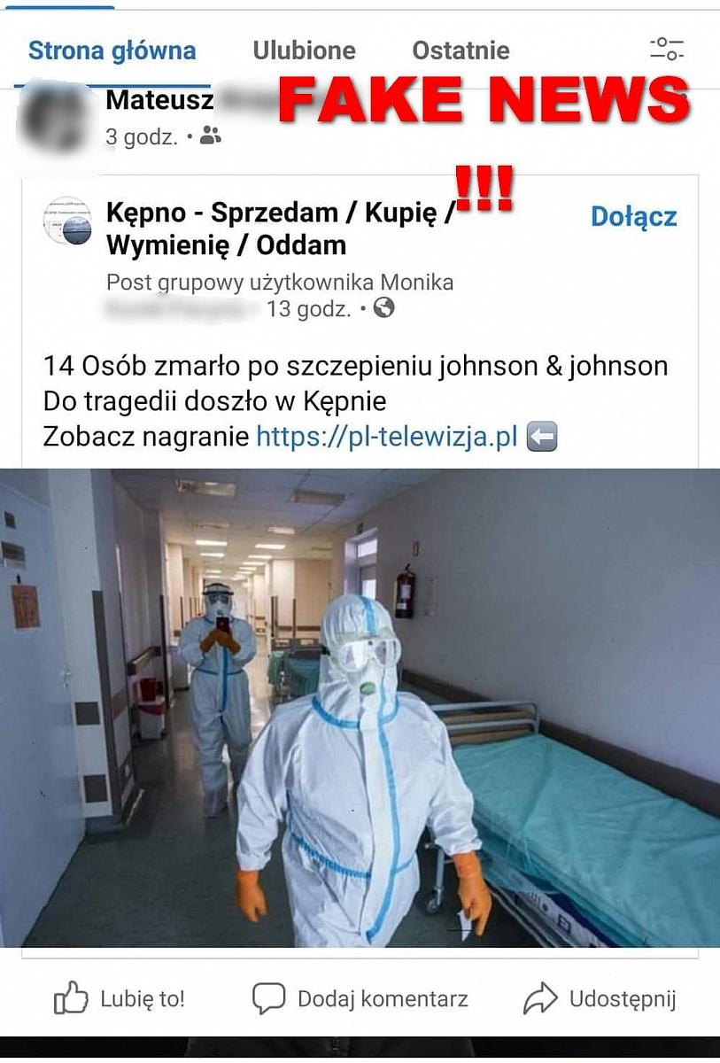 Uwaga! Informacja na Facebooku o kilkunastu osobach, które jednocześnie zmarły po podaniu szczepionki to fake news wymyślony przez oszustów!