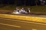 Pożar samochodu osobowego! Auto ciągnęło przyczepę z koniem