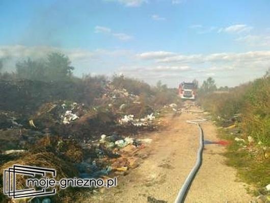 Pożar na wysypisku śmieci w Sulinie