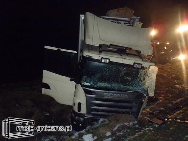 Wypadek w Kiszkowie. Ciężarówka uderzyła w drzewo!