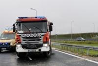 Wypadek na zjeździe z drogi ekspresowej S5