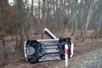 Wypadek między Gnieznem a Żelazkowem! BMW ścięło drzewo, Fiat wylądował na boku