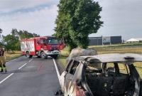 Pożar samochodu w okolicach Żydowa