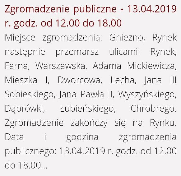 Tak miała przebiegać trasa Marszu Równości w Gnieźnie