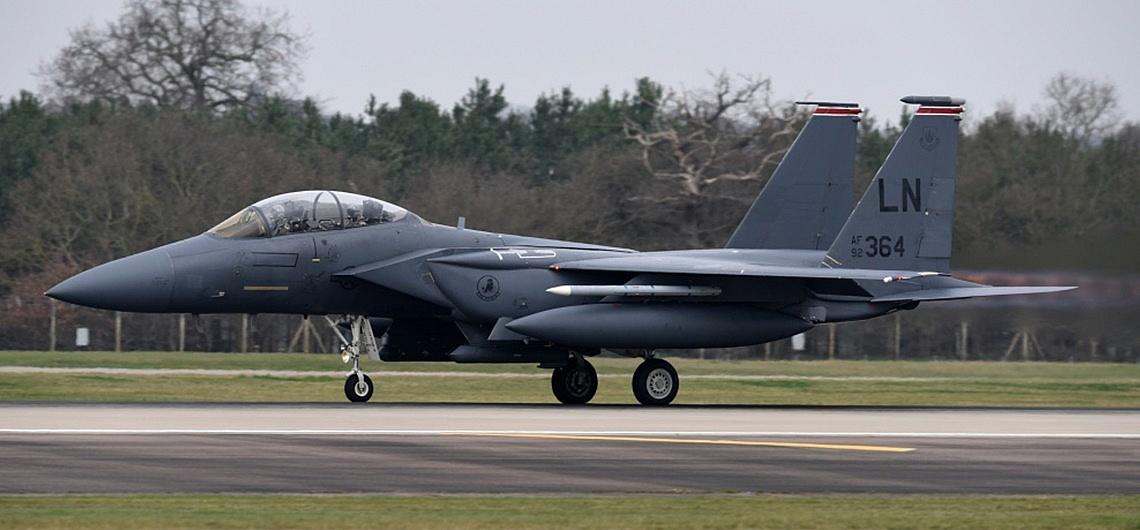 Awaryjne lądowanie amerykańskiego F-15 w Powidzu!
