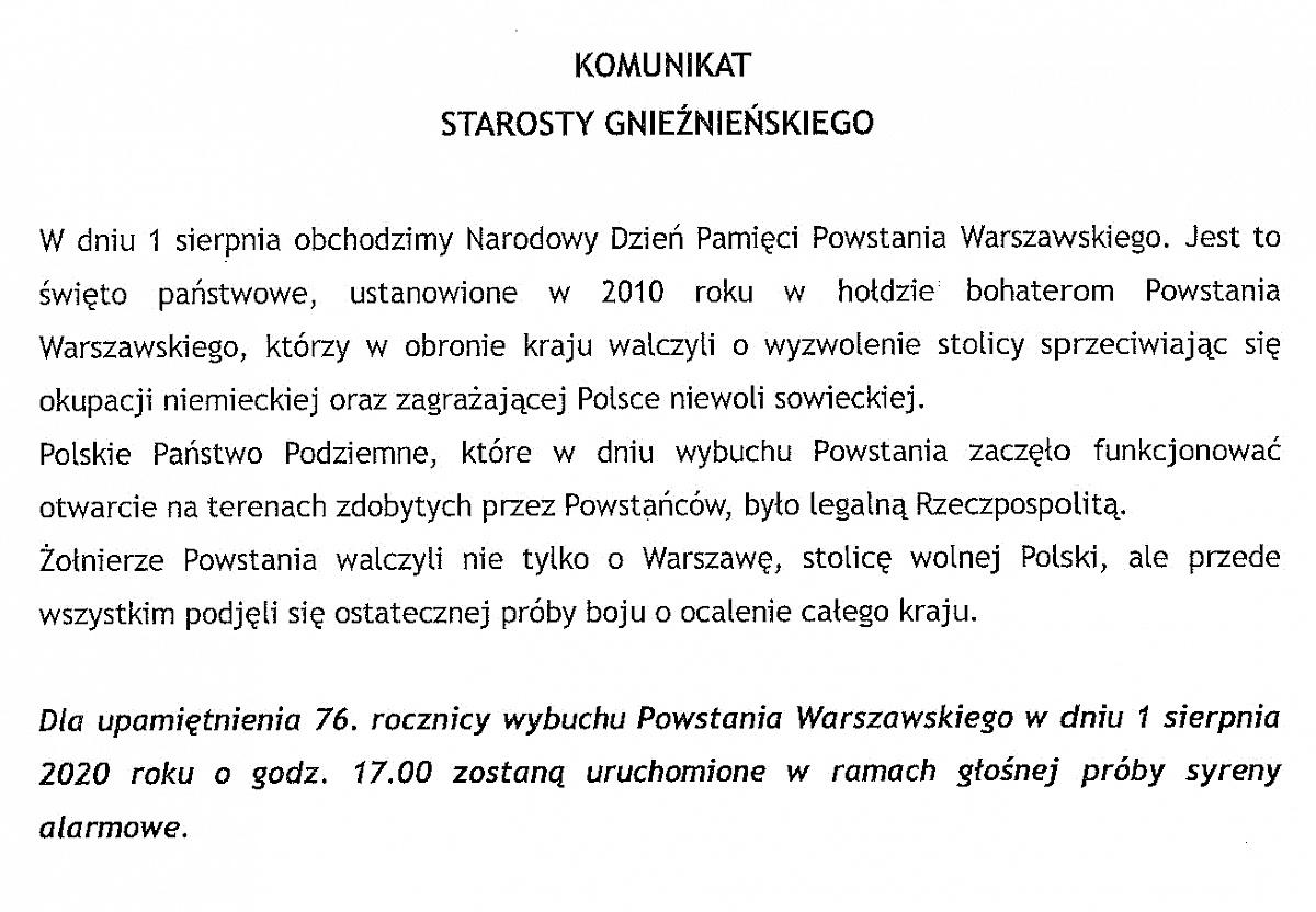 Uruchomienie syren alarmowych - 76. rocznica Powstania Warszawskiego