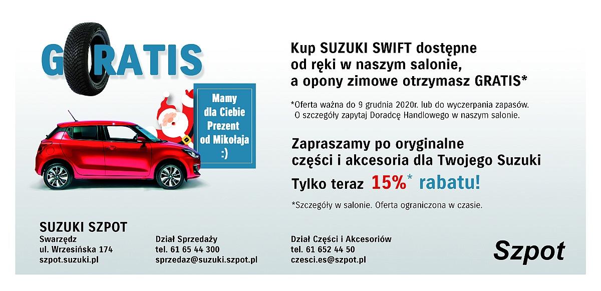 Wyjątkowa promocja Suzuki Szpot! Kup Suzuki Swift dostępne od ręki w salonie, a opony zimowe otrzymasz gratis