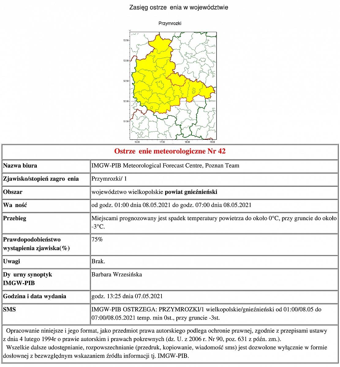 Ostrzeżenie meteorologiczne: przymrozki