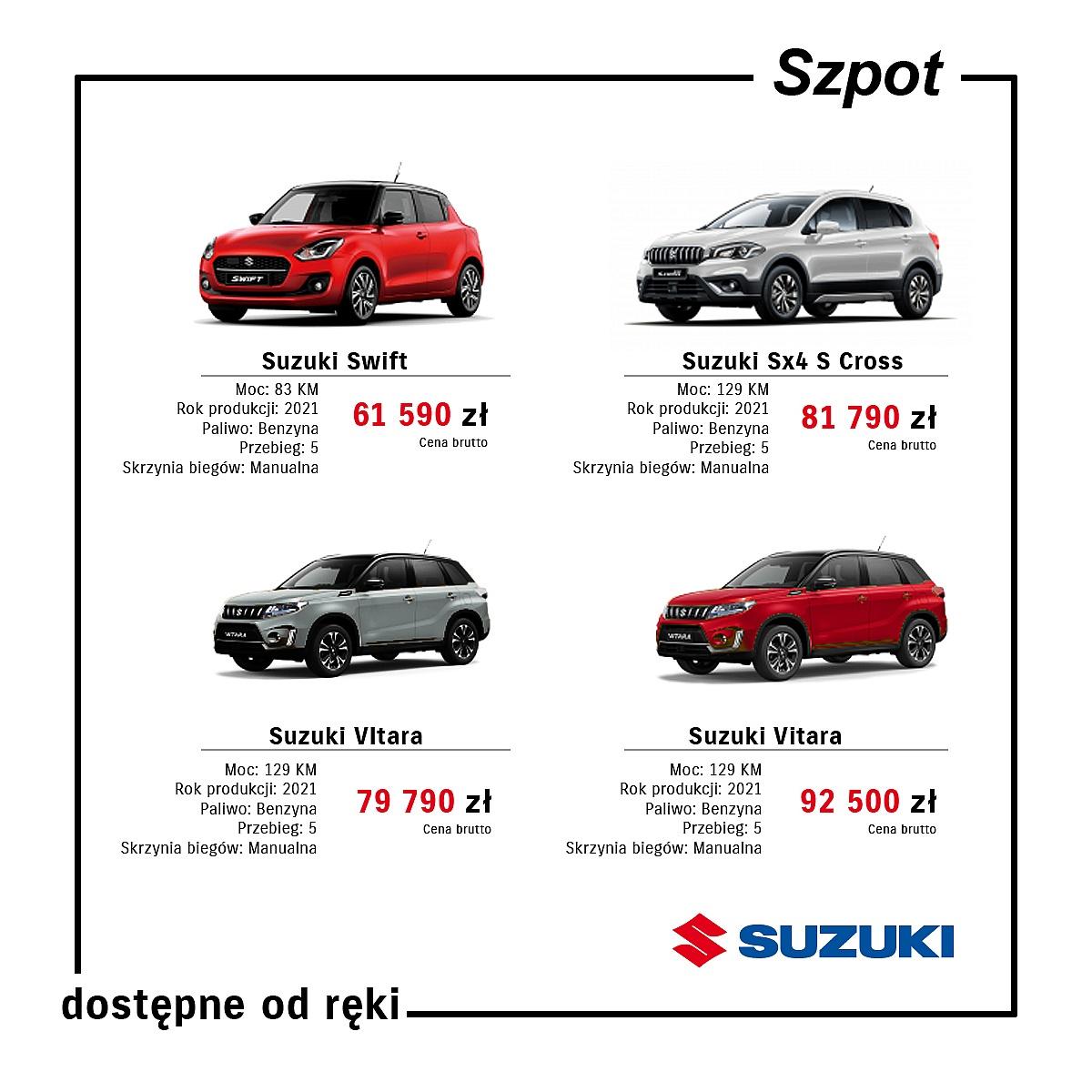 Samochody dostępne od ręki w Suzuki Szpot!