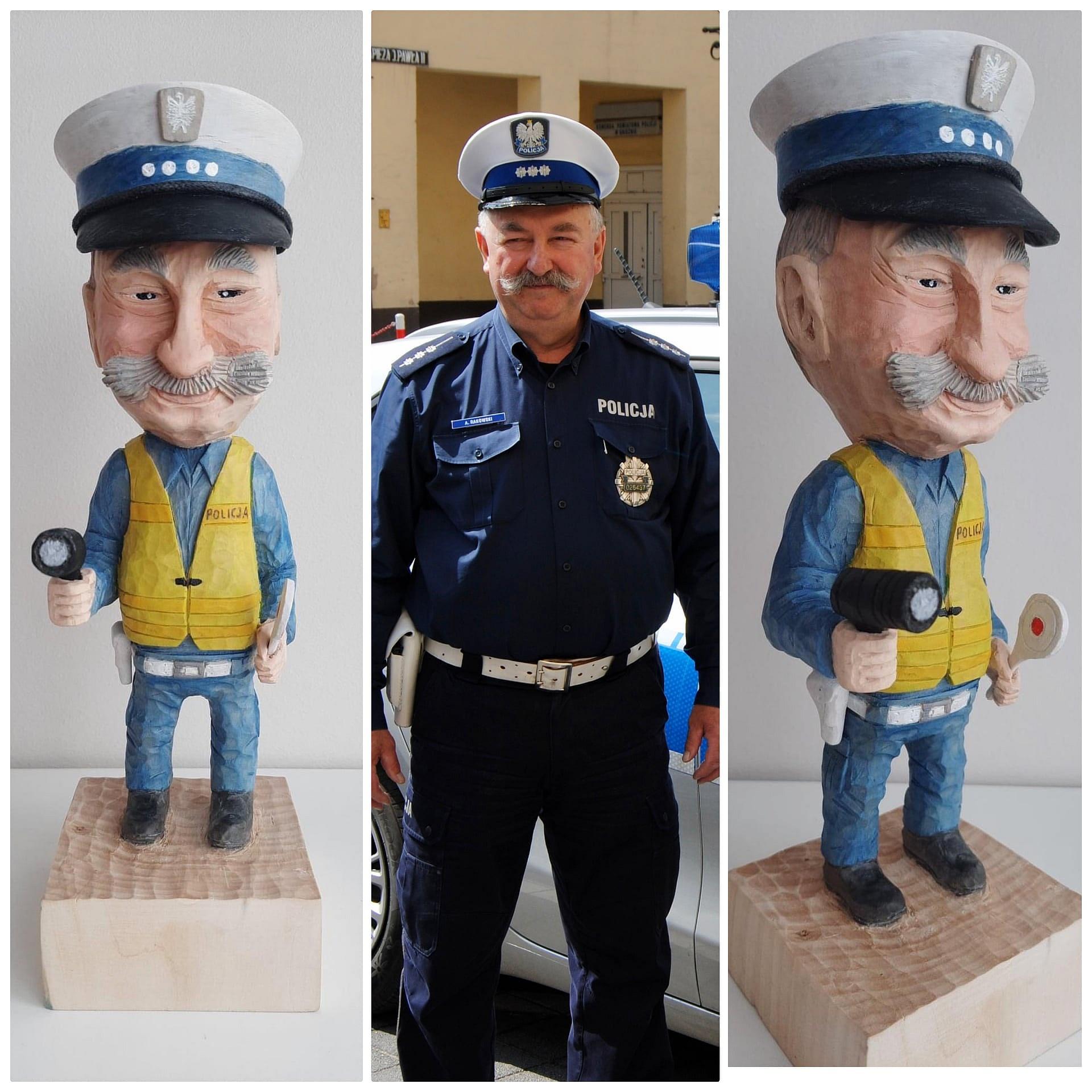 Najbardziej znany policjant drogówki ma swój mały pomnik! To asp. sztab. Adam Rakowski z Gniezna!