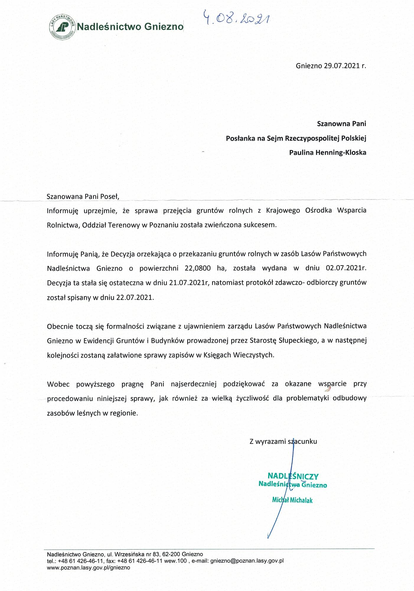 22 hektary jako rekompensata za wycinkę lasu w Powidzu