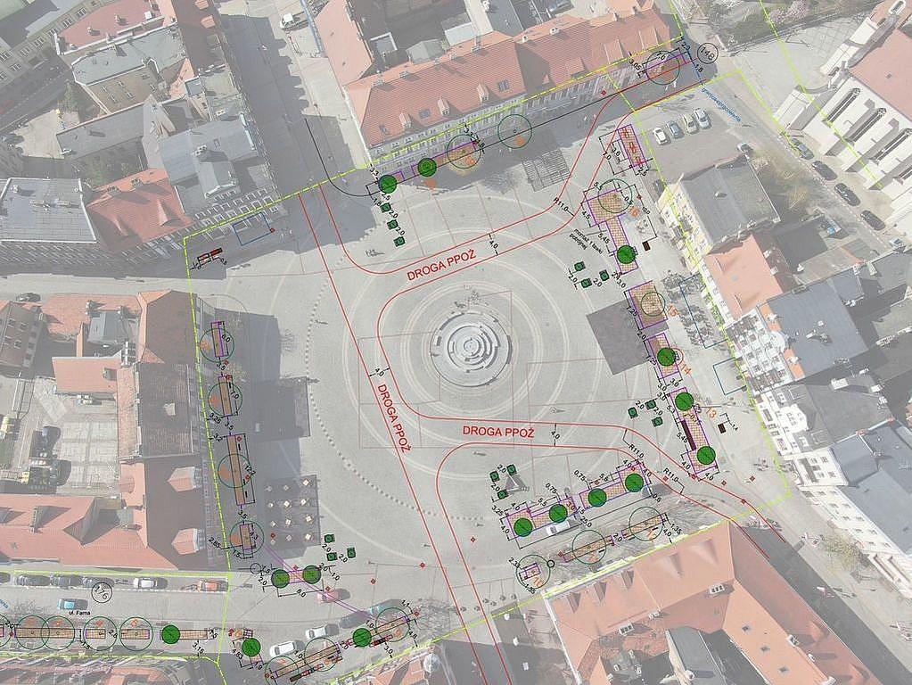 Nowa zieleń oraz mała architektura na Rynku w Gnieźnie