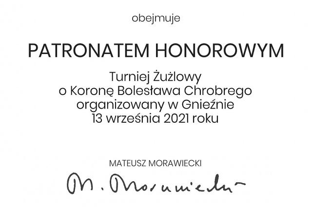 Premier Mateusz Morawiecki objął Honorowy Patronat nad 12. edycją Turnieju o Koronę Bolesława Chrobrego